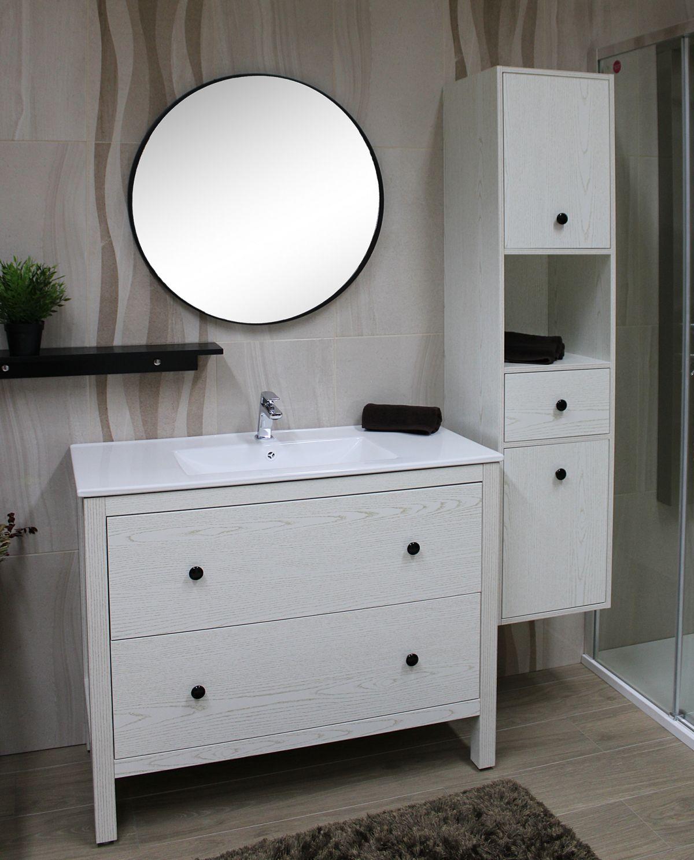 PARIGI BIANCO 4 Mobile bagno Parigi terra 100 cm bianco decapè con lavabo specchio, pensile e colonna