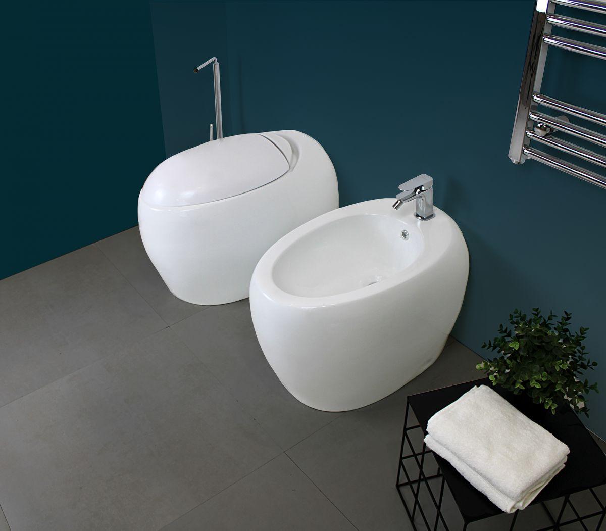 SFERA TERRA 1 Sanitari filo muro Sfera in ceramica Vaso+Bidet+Coprivaso Soft Close