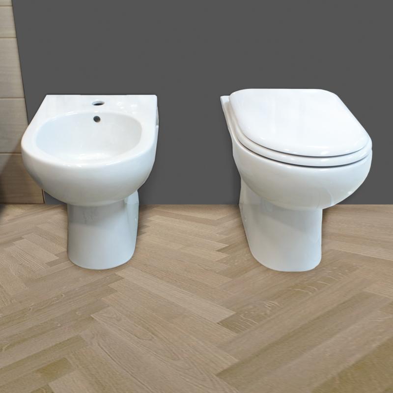 Sanitari filo muro a terra vaso bidet coprivaso Mod Klio extra big 1211 014 Sanitari filo muro Klio in ceramica Vaso+Bidet+Coprivaso
