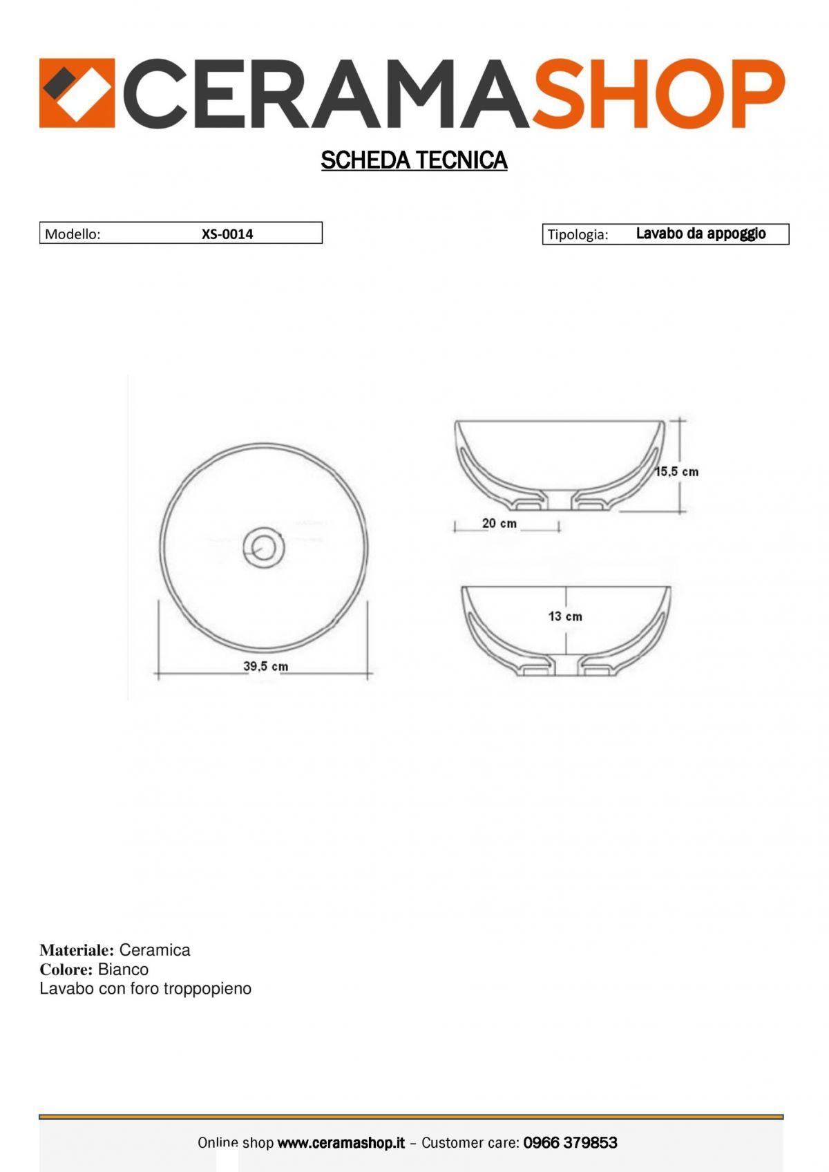 XS 0014 0001 scaled Lavabo bacinella cod XS-0014 da appoggio in ceramica di forma tonda col bianco lucido