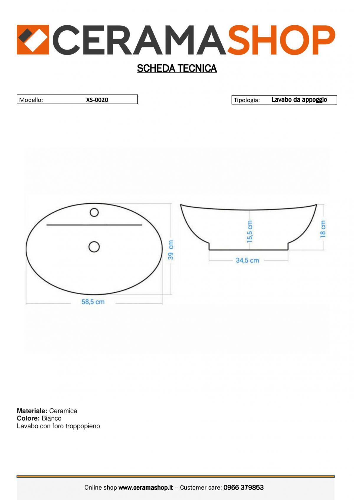 XS 0020 0001 scaled Lavabo bacinella cod XS-0020 da appoggio in ceramica di forma ovale col bianco lucido