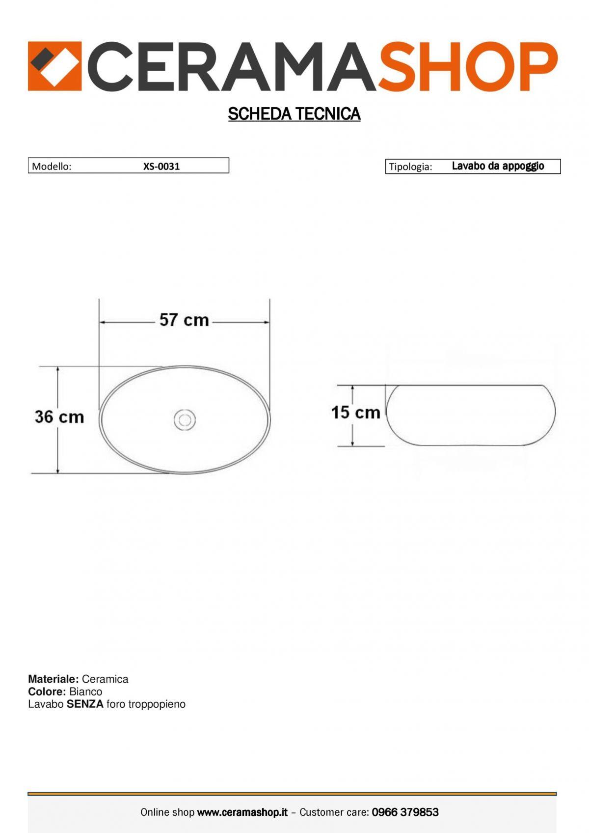 XS 0031 0001 scaled Lavabo bacinella cod XS-0031 da appoggio in ceramica di forma ovale col bianco lucido