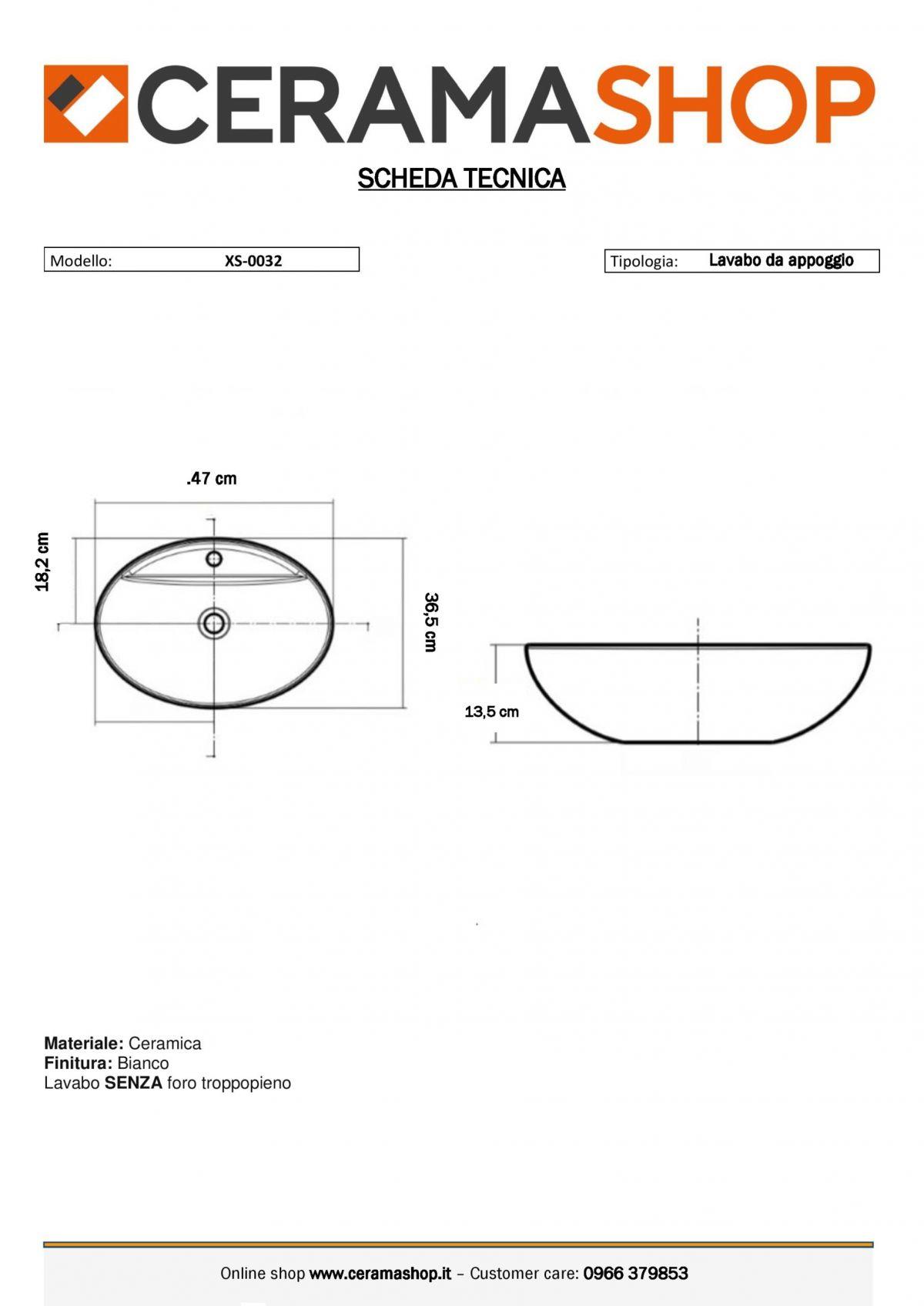 XS 0032 0001 2 scaled Lavabo bacinella cod XS-0032A da appoggio in ceramica di forma ovale col bianco lucido