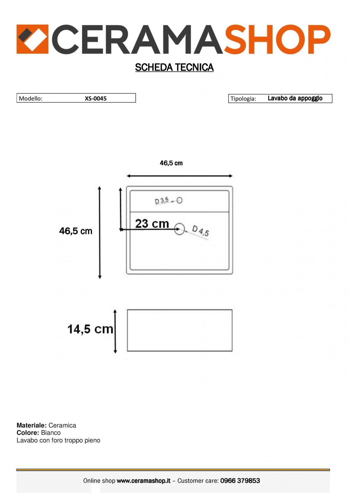 XS 0045 0001 scaled Lavabo bacinella cod XS-0045 da appoggio in ceramica di forma rettangolare col bianco lucido