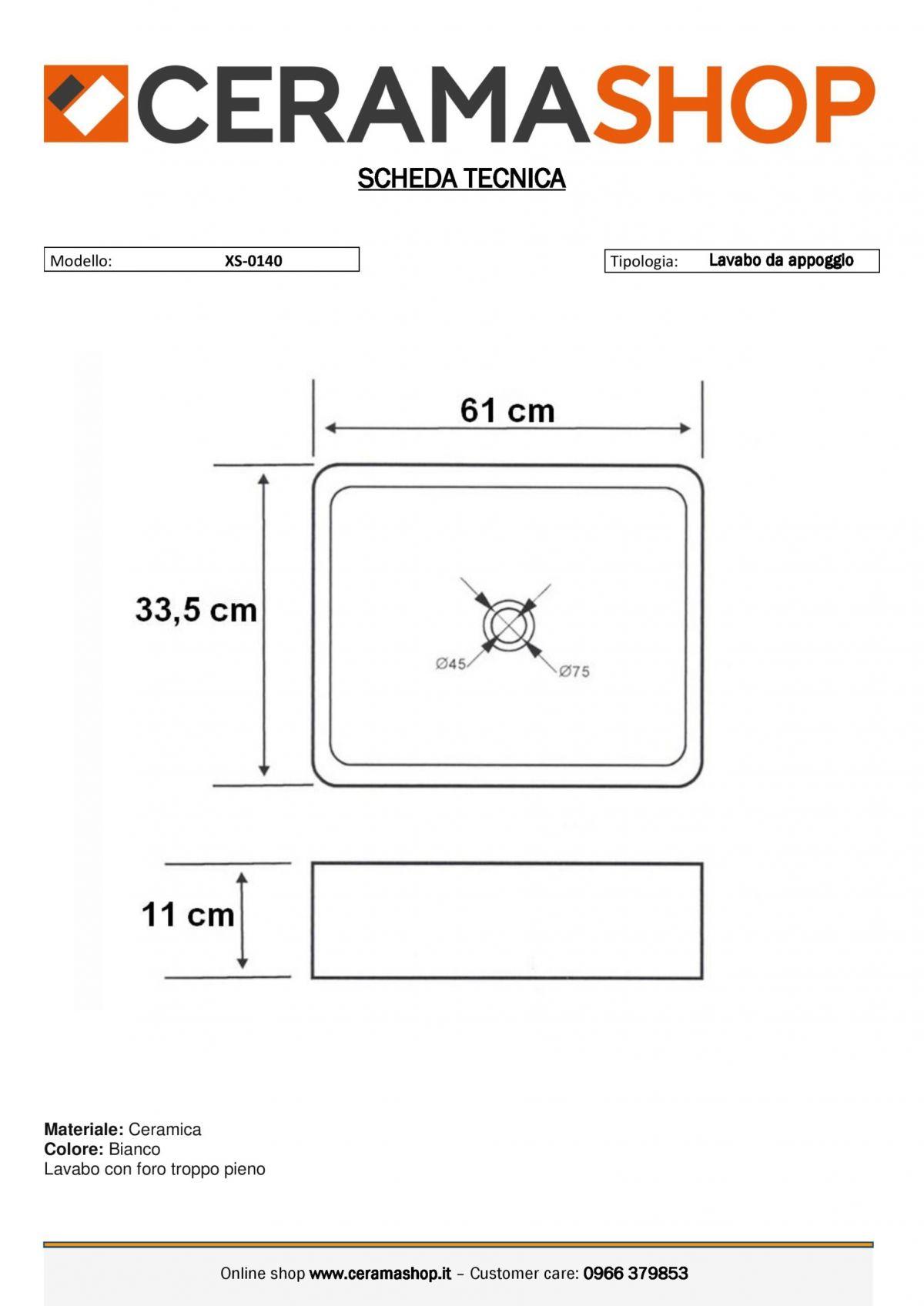 XS 0047 0001 scaled Lavabo bacinella cod XS-0047 da appoggio in ceramica di forma rettangolare col bianco lucido