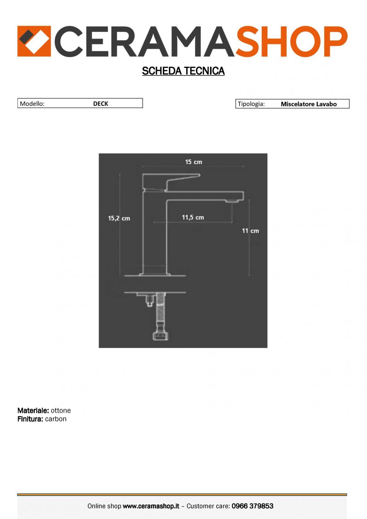 """deck lavabo carbon 0001 scaled Miscelatore Lavabo """"Deck"""" Carbon con piletta di scarico click clack"""