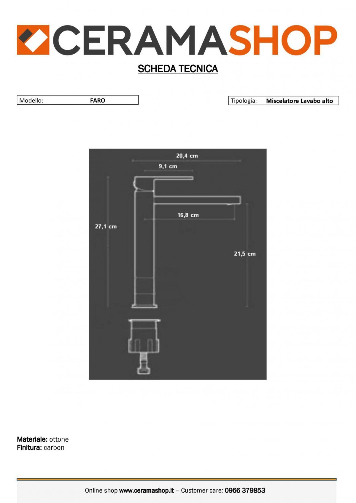 """lavabo alto faro carbon 0001 scaled Miscelatore Lavabo alto """"Faro"""" Carbon con piletta di scarico click clack"""