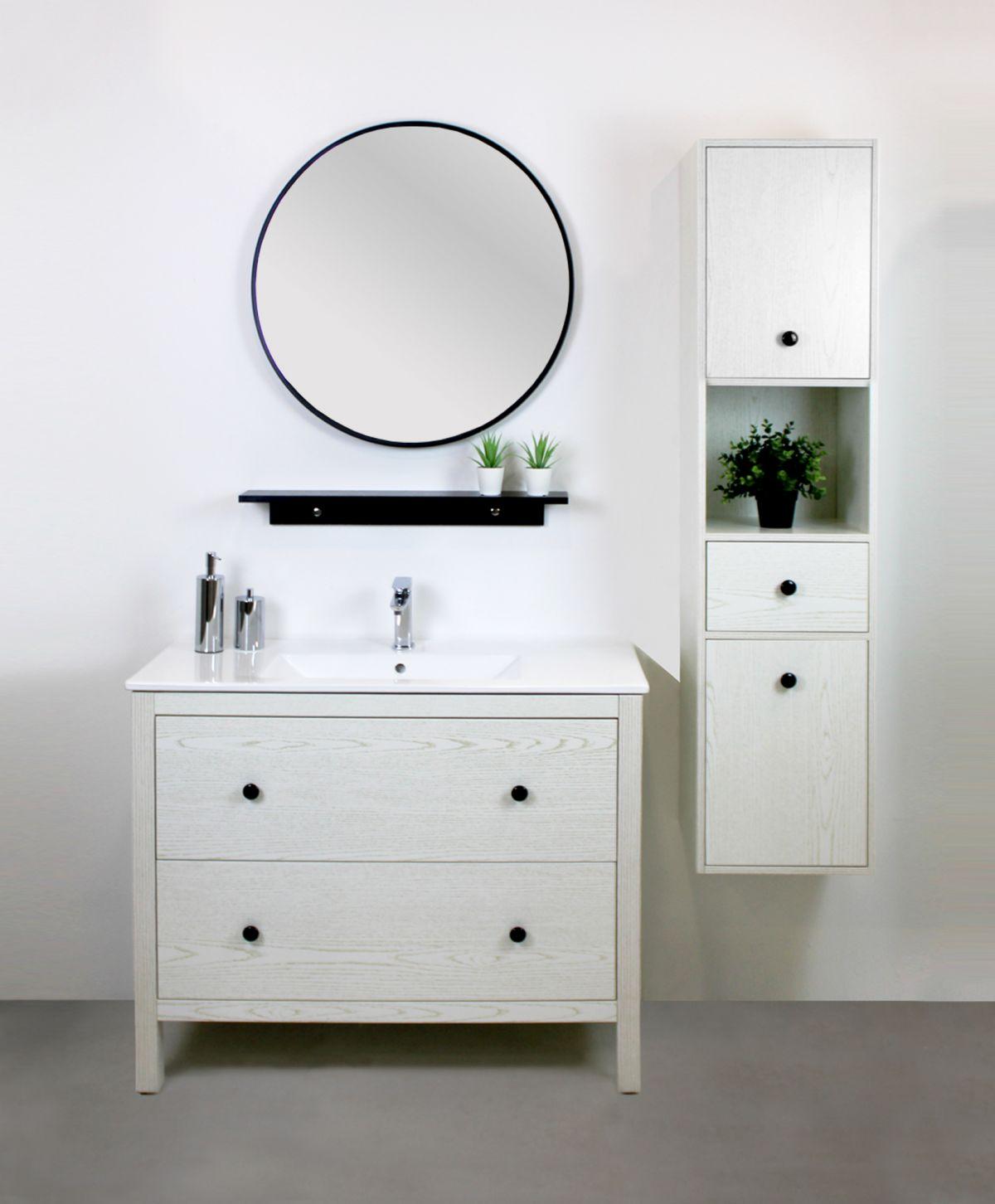 parigi 1 1 Mobile bagno Parigi terra 100 cm bianco decapè con lavabo specchio, pensile e colonna