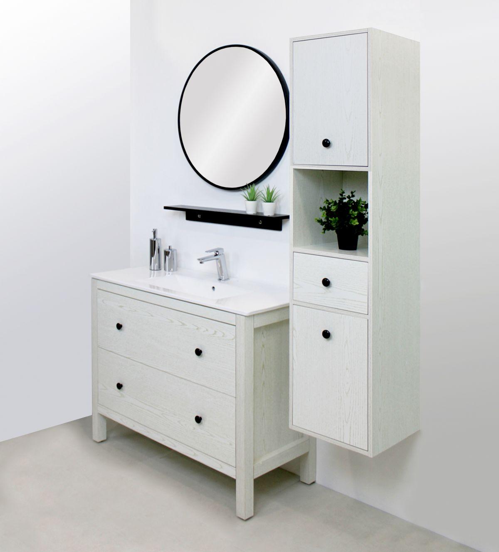 parigi 2 Mobile bagno Parigi terra 100 cm bianco decapè con lavabo specchio, pensile e colonna