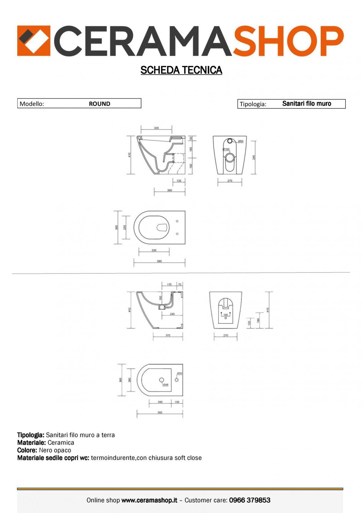 serie round a terra nero 0001 scaled Sanitari filo muro Round in ceramica col nero opaco Vaso+Bidet+Coprivaso Soft Close