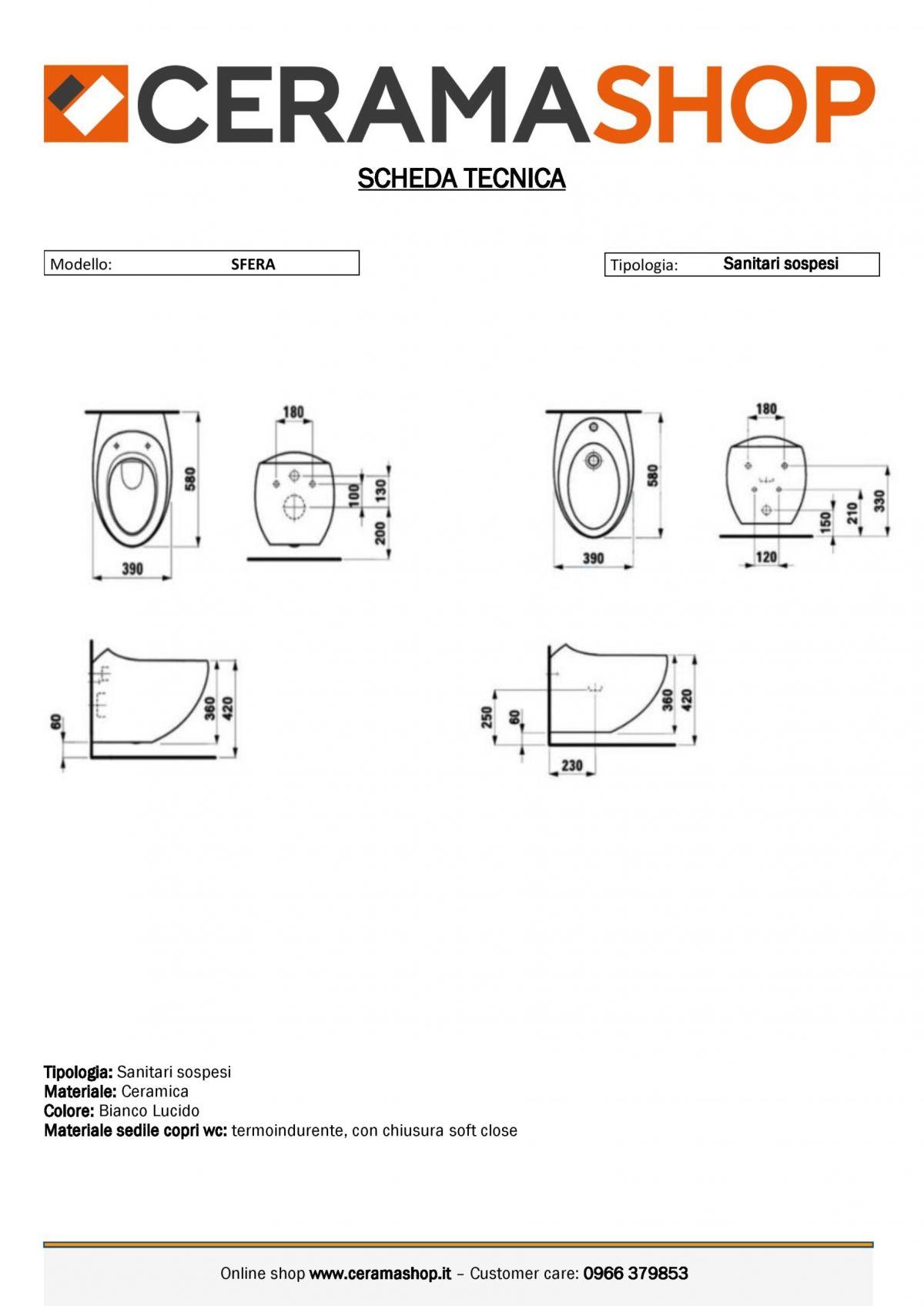 sfera sospesi 0001 1 scaled Sanitari Sospesi Sfera in ceramica Vaso+Bidet+Coprivaso Soft Close