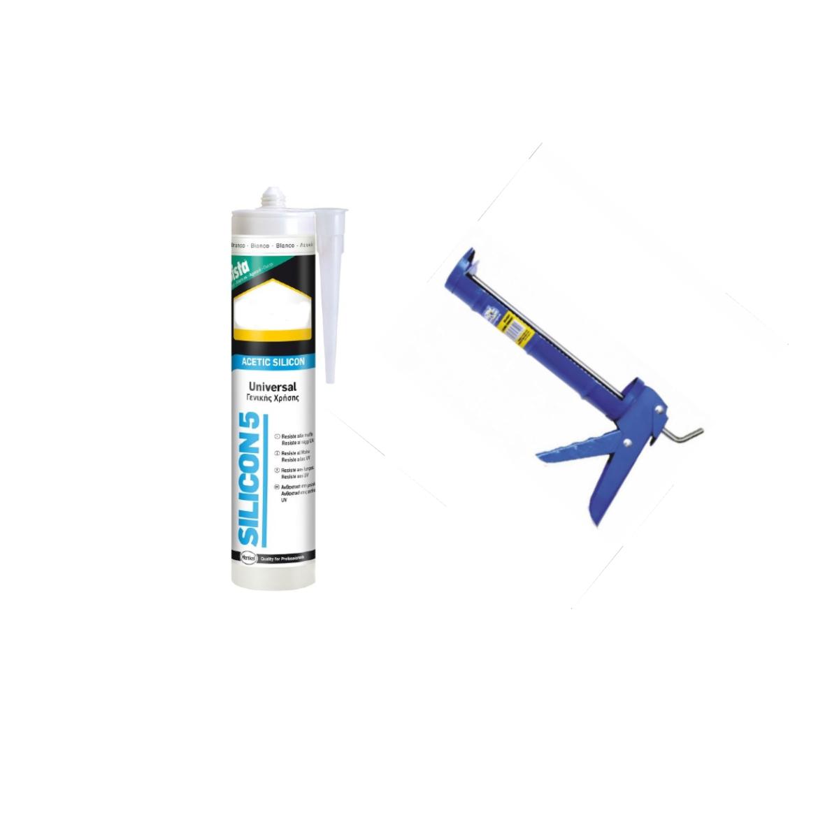 siliconepistola Silicone sigillante con pistola, cartuccia da 280ml universale, colore bianco