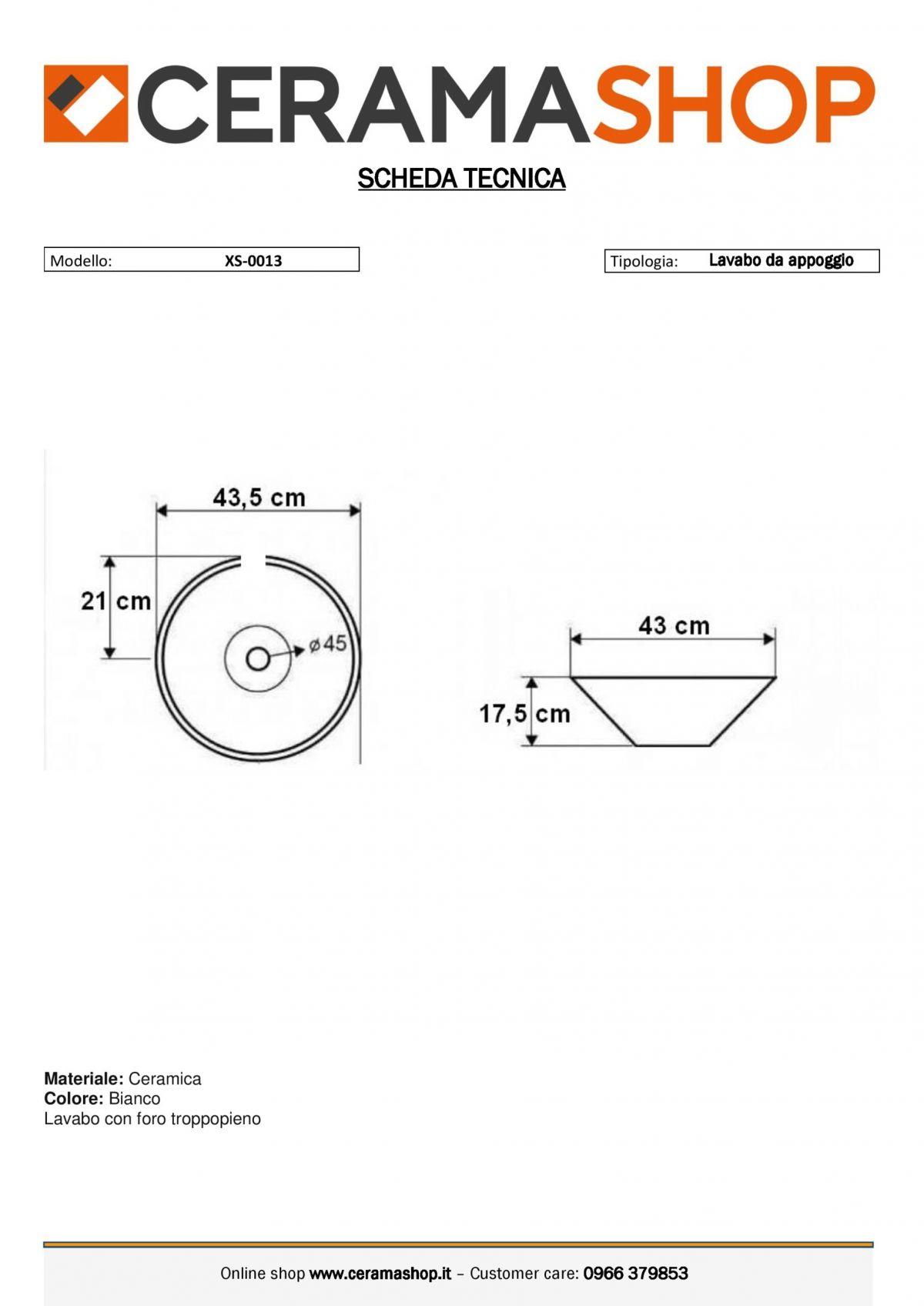 xs 0013 0001 scaled Lavabo bacinella cod XS-0013 da appoggio in ceramica di forma tonda col bianco lucido