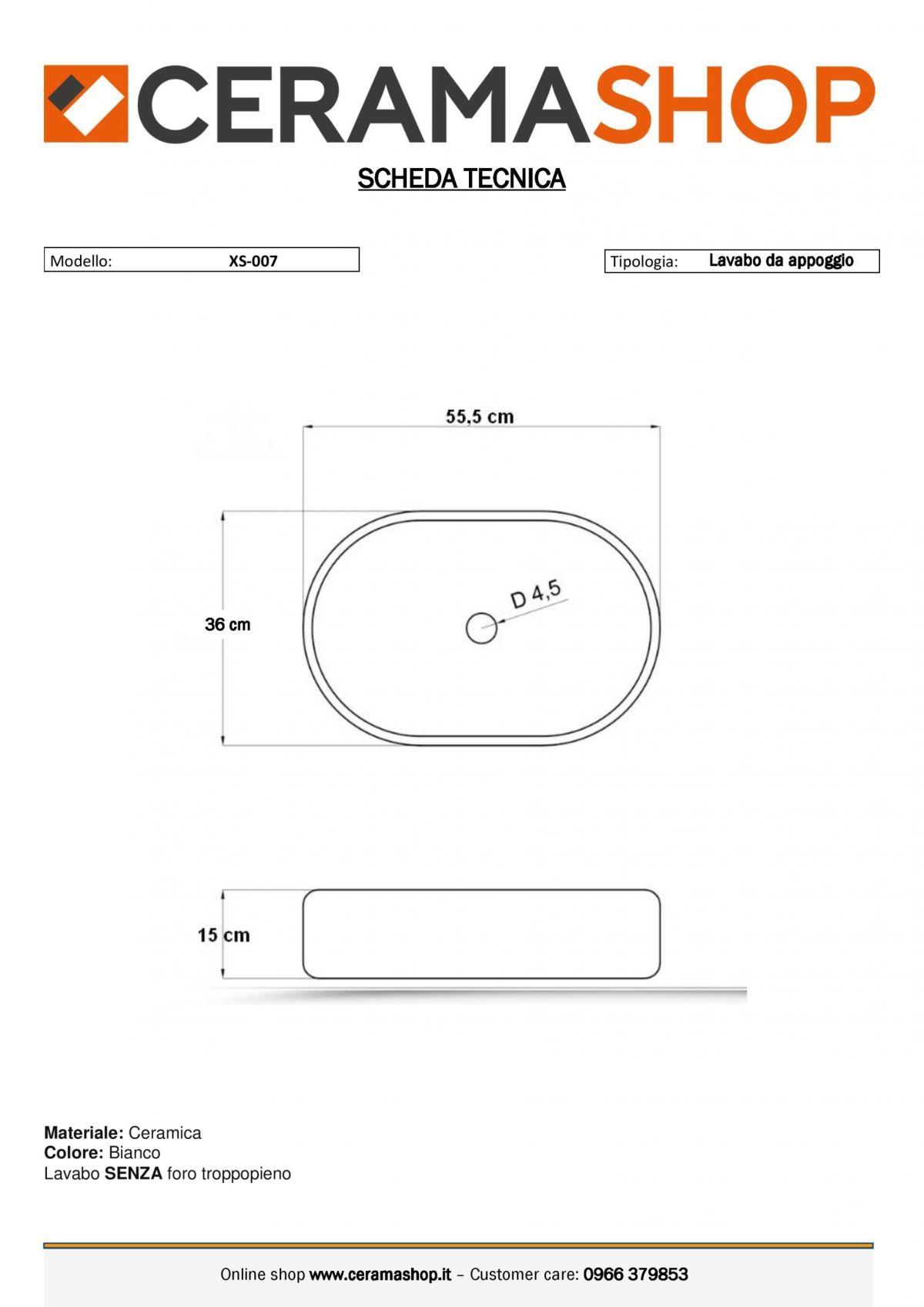 xs 007 0001 scaled Lavabo bacinella cod XS-0007 da appoggio in ceramica di forma rettangolare col bianco lucido