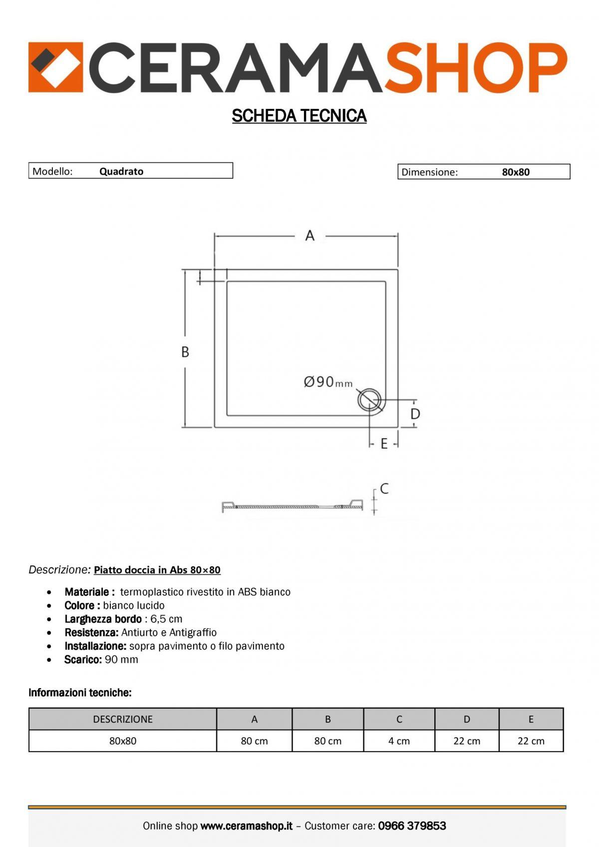 80x80 Q 0001 scaled Piatto doccia quadrato