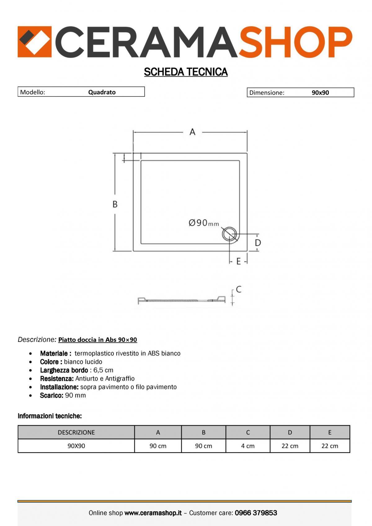 90x90 0001 1 scaled Piatto doccia quadrato