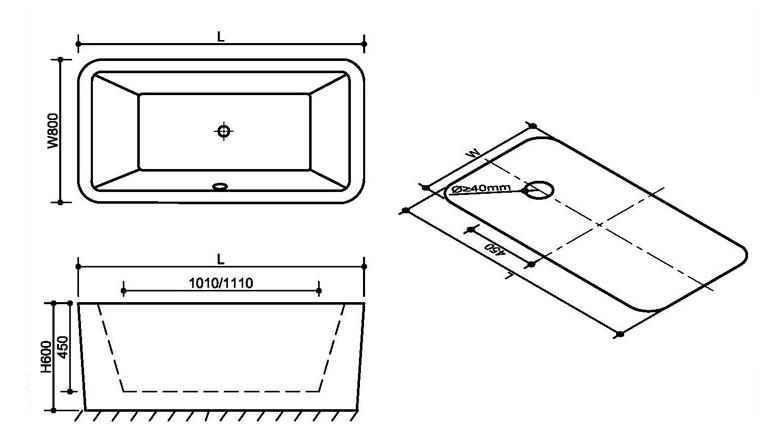 FC 304 3 Vasca da bagno in acrilico 170x80x60 cm freestanding forma rettangolare