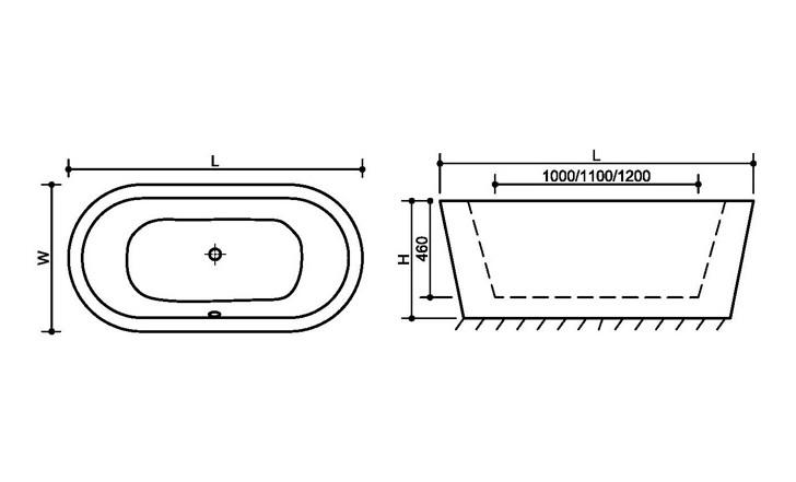 FC 305 3 Vasca da bagno in acrilico 170x80x60 cm freestanding forma ovale