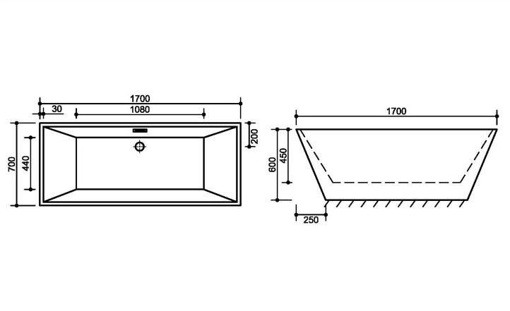 FC 334 3 Vasca da bagno in acrilico 170x70x60 cm freestanding forma rettangolare