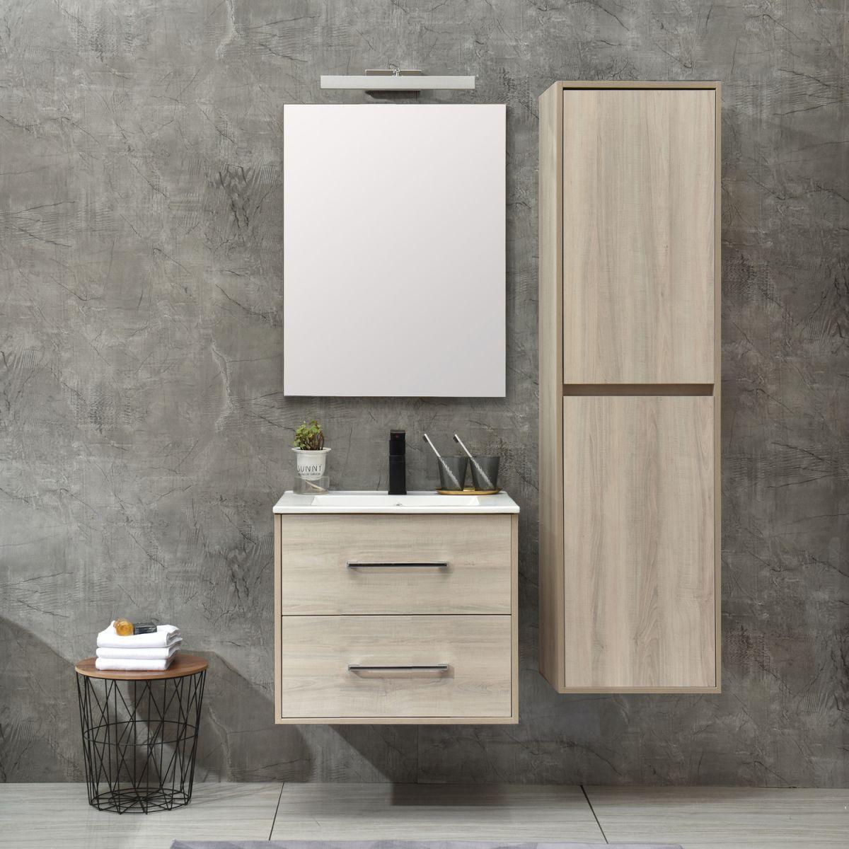 MF 1805 0 W 1 Mobile bagno Praga sospeso 60 cm bianco effetto legno con lavabo,specchio e colonna pensile