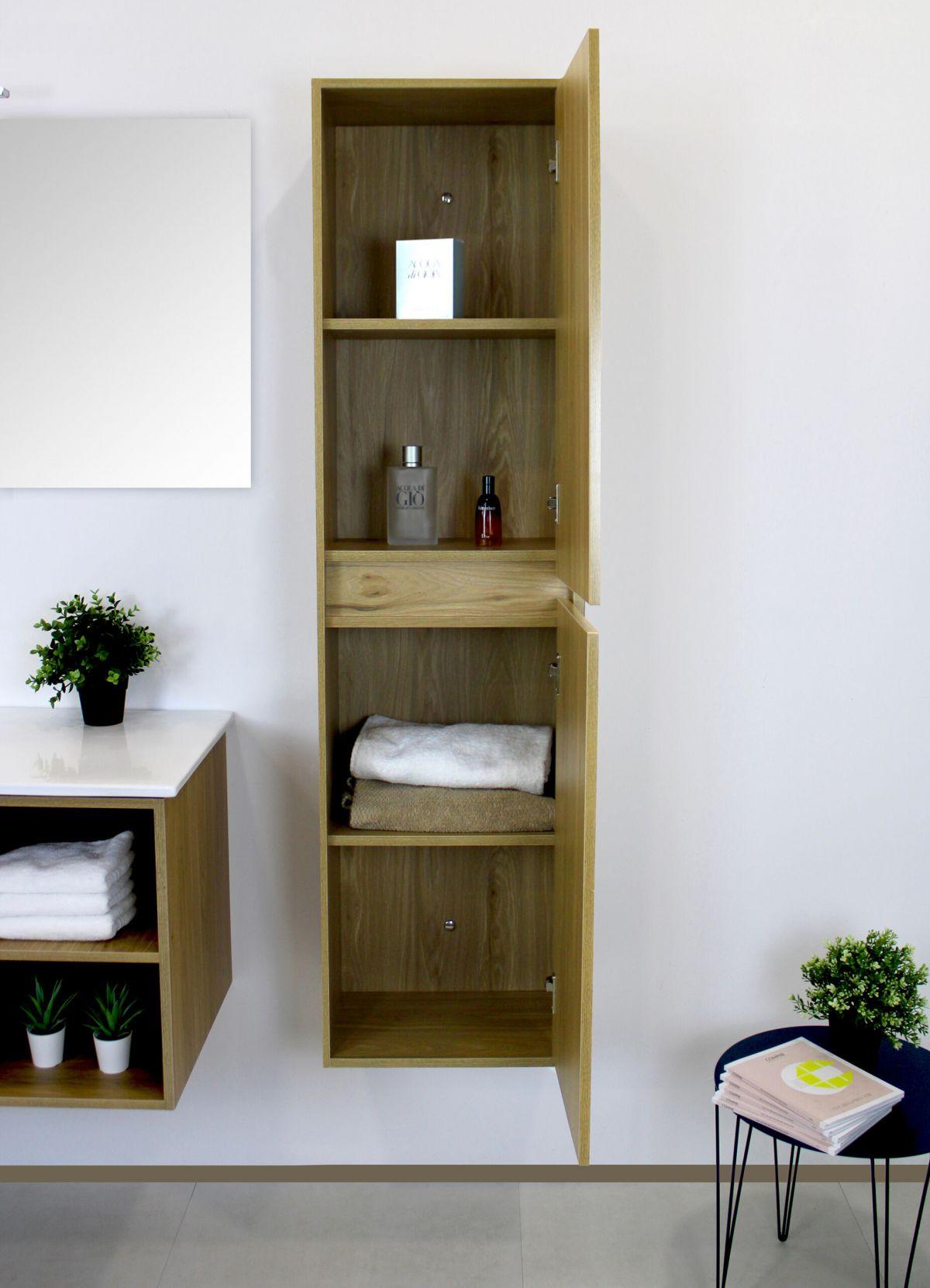 PENSILE LONDRA ROVERE APERTO scaled Pensile bagno sospeso 40x30x 150h cm con 2 anta color rovere effetto legno