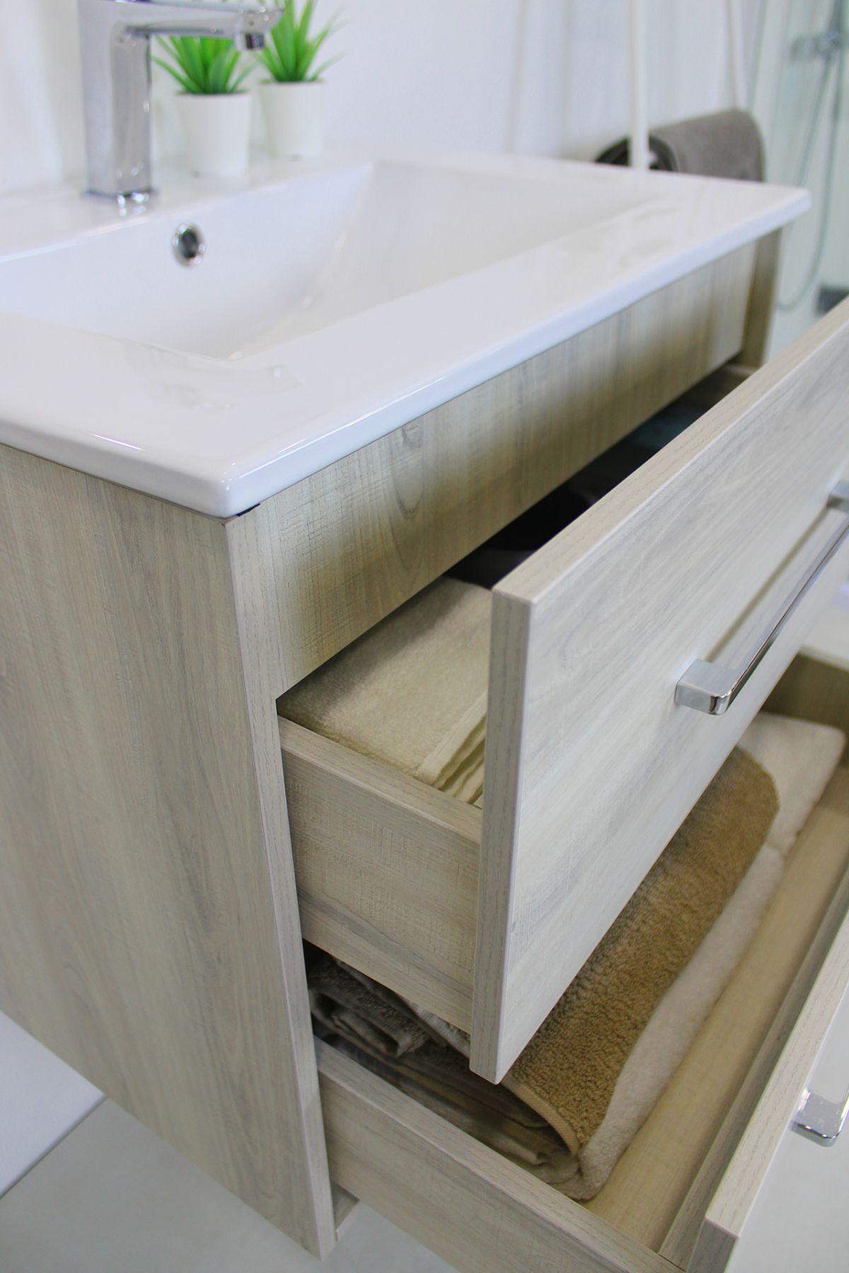 PRAGA 60 BIANCO LATERALE Mobile bagno Praga sospeso 60 cm bianco effetto legno con lavabo,specchio e colonna pensile
