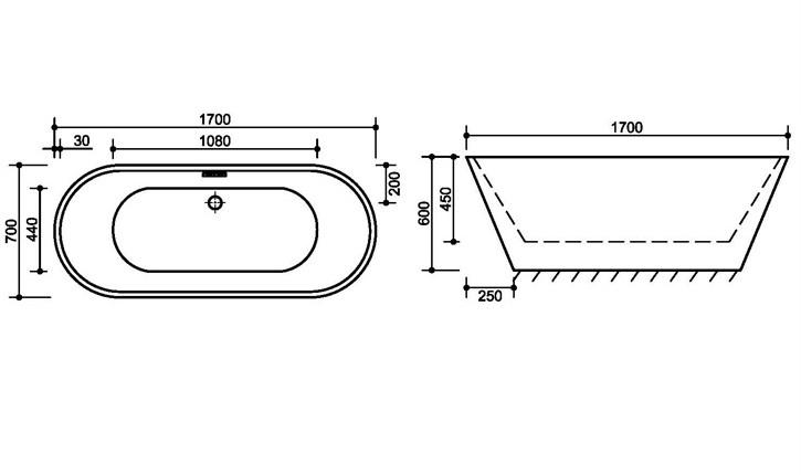 fc 335 3 Vasca da bagno in acrilico 170x70x60 cm freestanding forma tonda