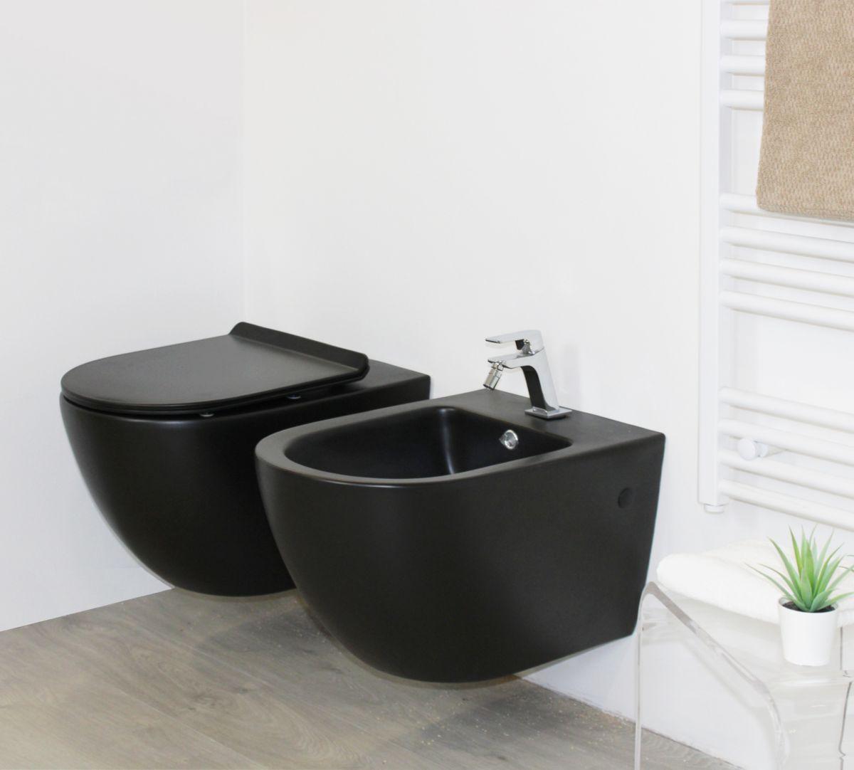 round nero sospeso 1 Sanitari Sospesi Round in ceramica col nero Vaso+Bidet+Coprivaso Soft Close