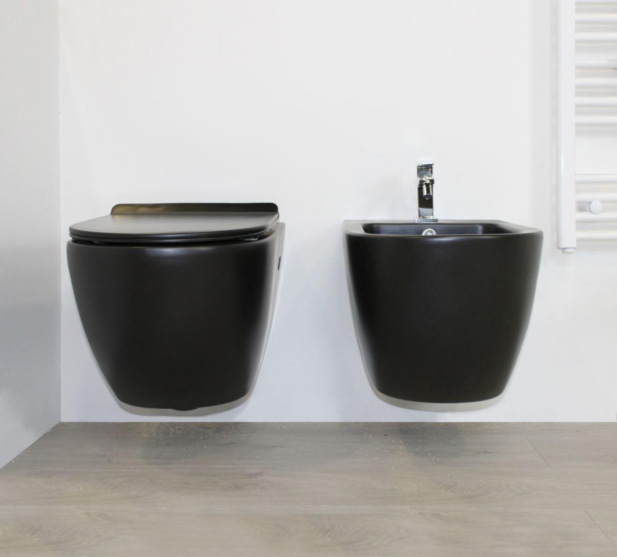 round nero sospeso 2 Sanitari Sospesi Round in ceramica col nero Vaso+Bidet+Coprivaso Soft Close