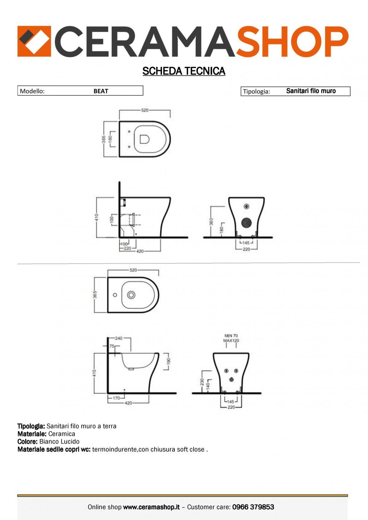 serie beat 0001 scaled Sanitari filo muro Beat in ceramica Vaso+Bidet+Coprivaso Soft Close by Hatria