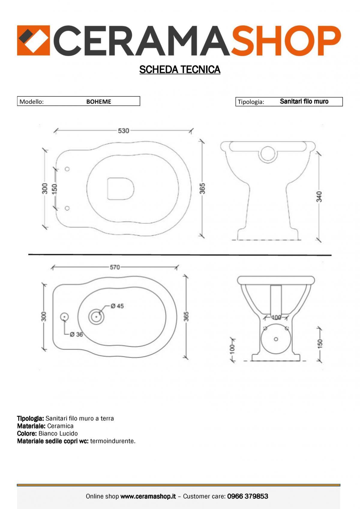 serie boheme 0001 scaled Sanitari tradizionali Boheme in ceramica Vaso+Bidet+Coprivaso by Alice Ceramica