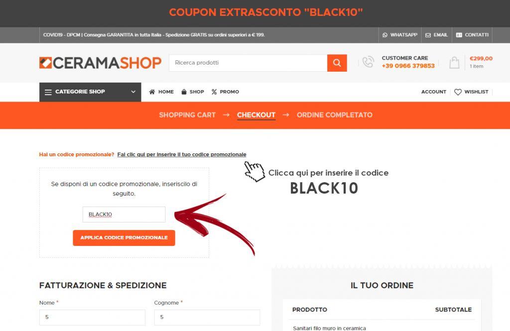 Sconto Black10 1 Coupon Sconto BLACK10