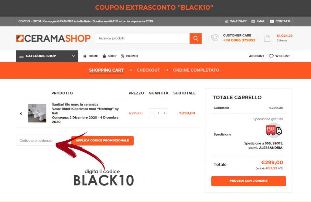 Sconto Black10 Coupon Sconto BLACK10
