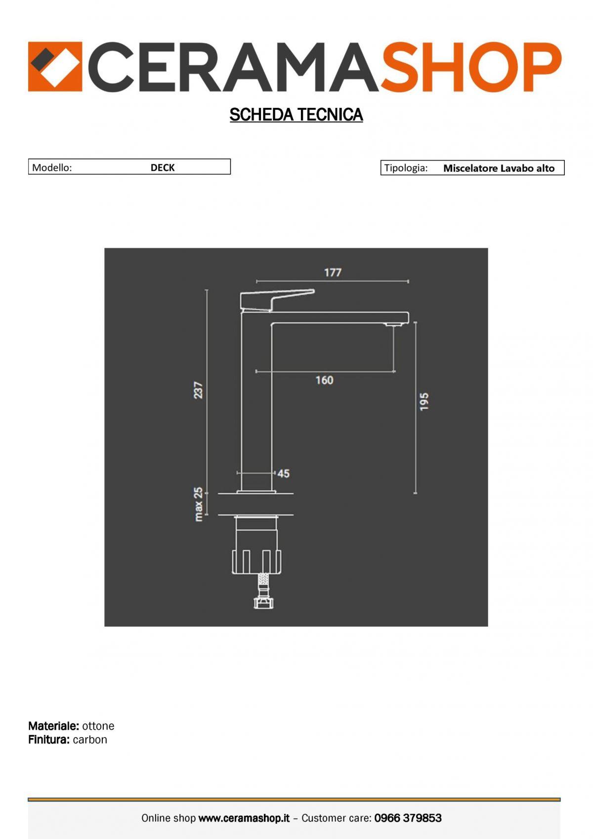"""lavabo alto deck carbon 0001 scaled Miscelatore Lavabo alto """"Deck"""" Carbon con piletta di scarico click clack"""