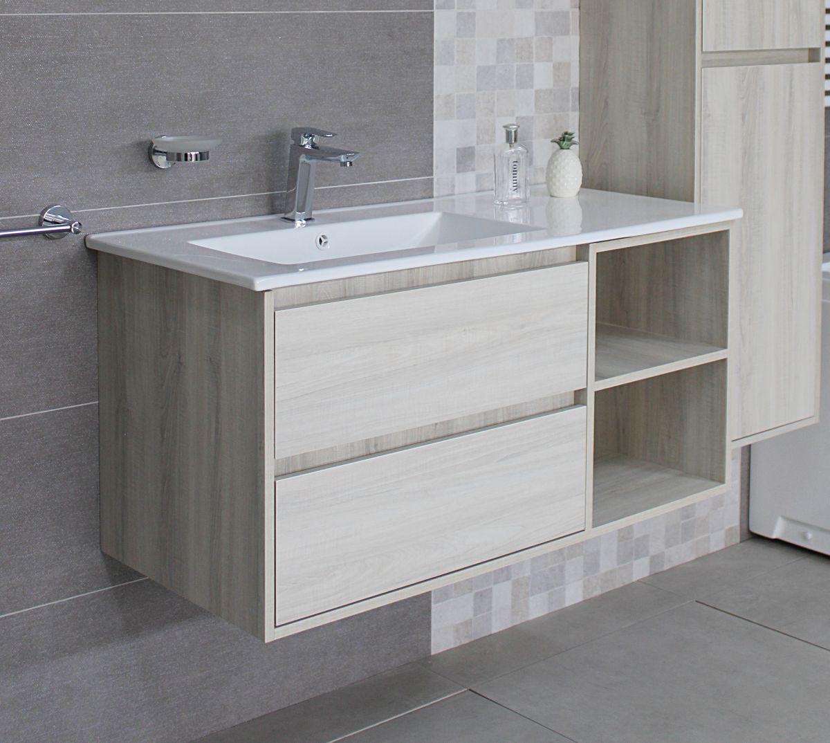 Londra con colonna 3 Mobile bagno Londra sospeso 100 cm bianco effetto legno con lavabo specchio e pensile