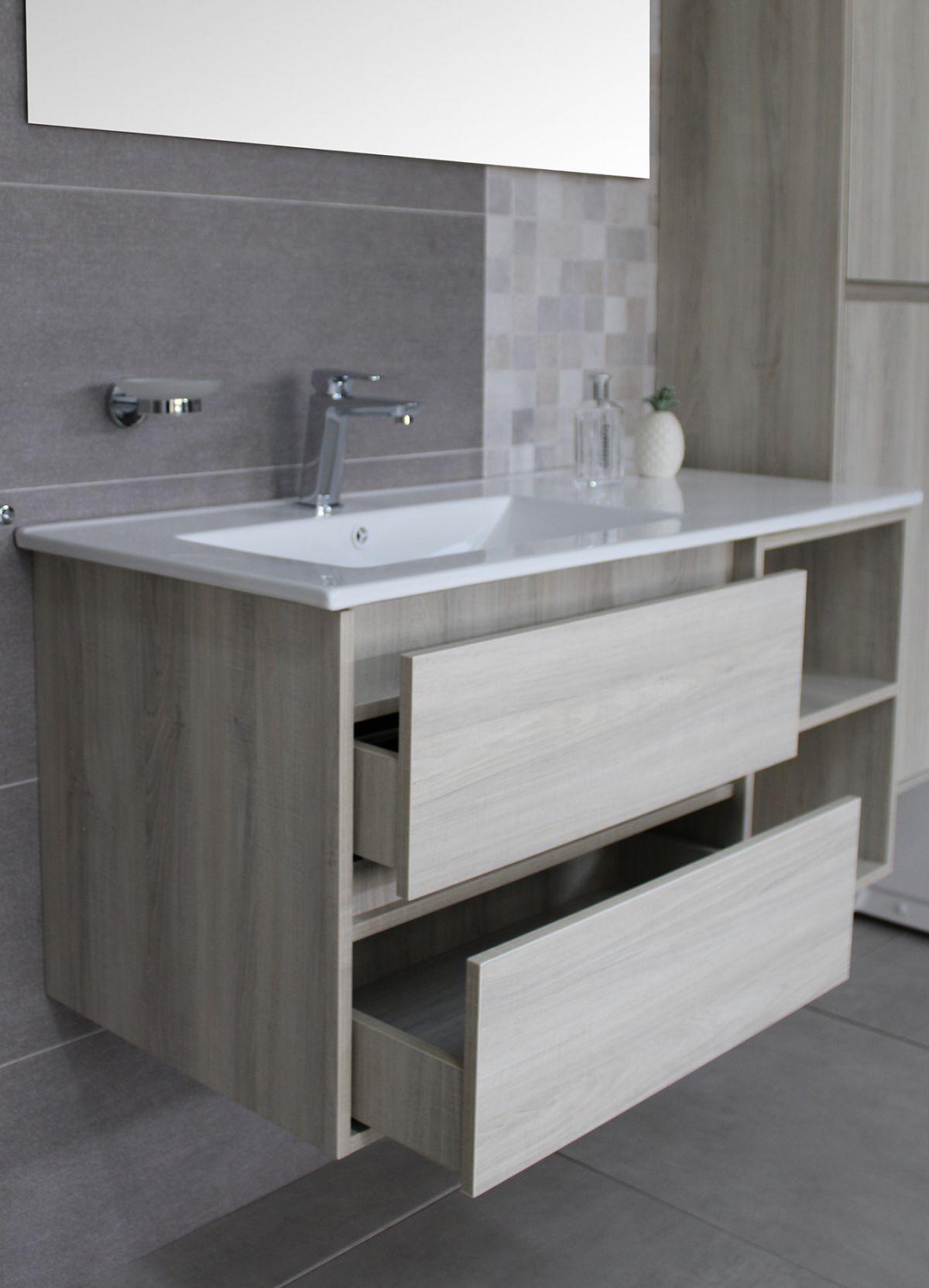 Londra con colonna 5 Mobile bagno Londra sospeso 100 cm bianco effetto legno con lavabo specchio e pensile