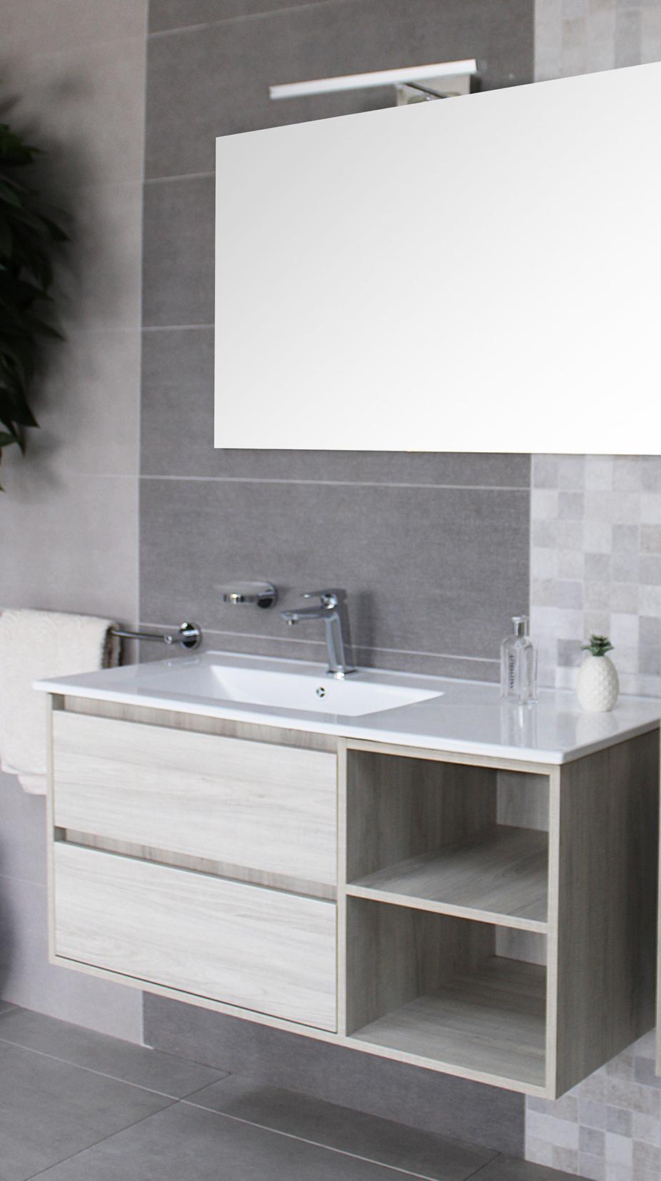 Londra senza colonna 2 Mobile bagno Londra sospeso 100 cm bianco effetto legno con lavabo specchio lampada