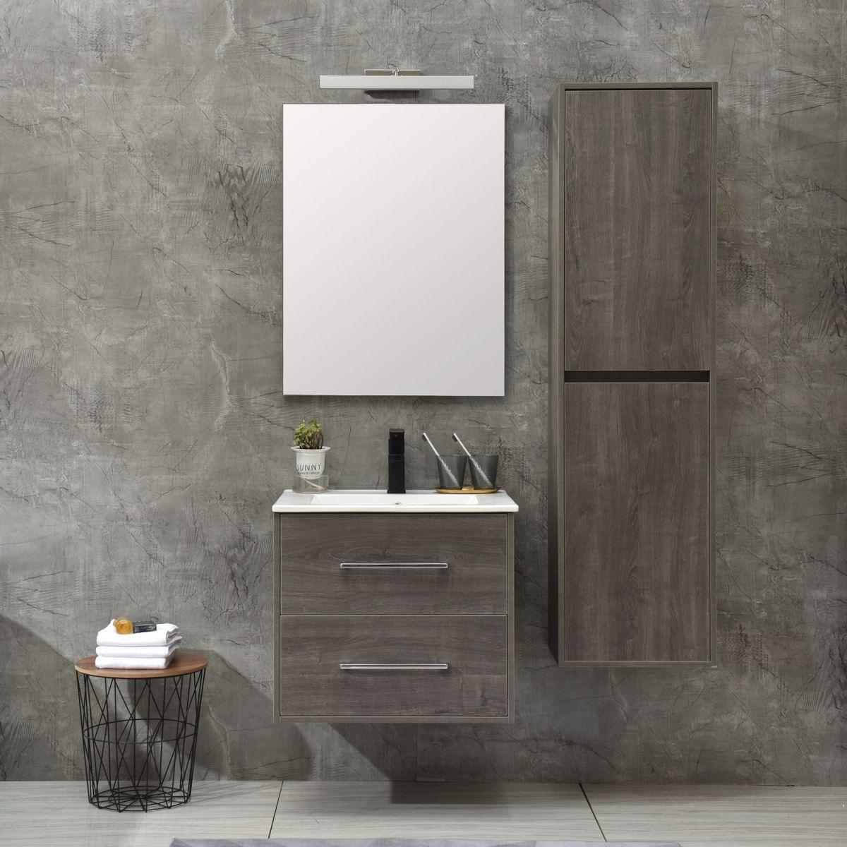 MF 1805 0 G 1 Mobile bagno Praga sospeso 60 cm grigio effetto legno con lavabo,specchio e colonna pensile