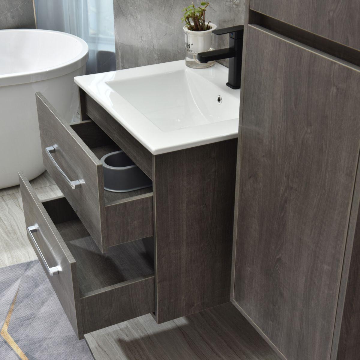 MF 1805 0 G 3 Mobile bagno Praga sospeso 120 cm grigio effetto legno con lavabo,specchio e colonna pensile