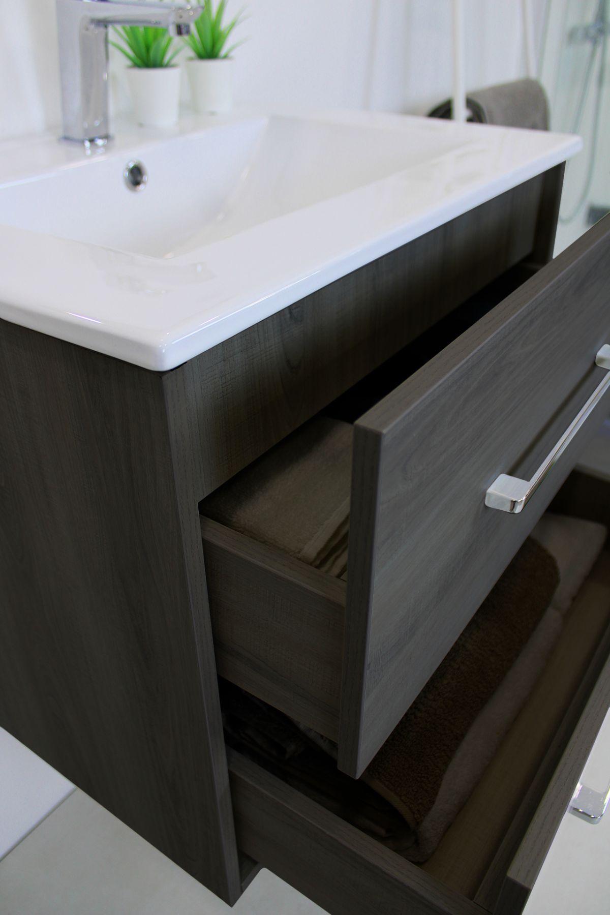PRAGA 60 grigio LATERALE Mobile bagno Praga sospeso 60 cm grigio effetto legno con lavabo,specchio e colonna pensile
