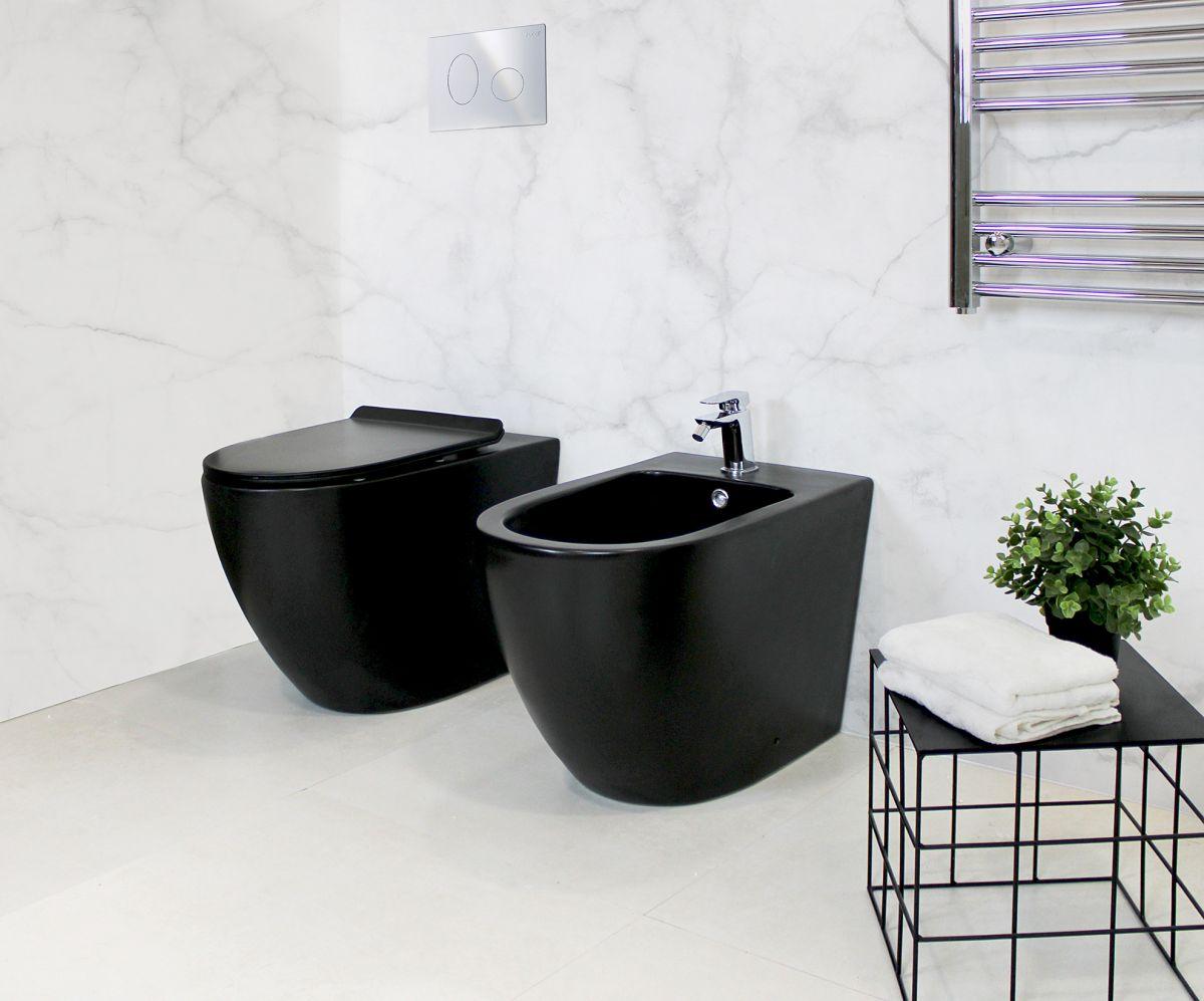 Round Terra Black Sanitari filo muro Round in ceramica col nero opaco Vaso+Bidet+Coprivaso Soft Close