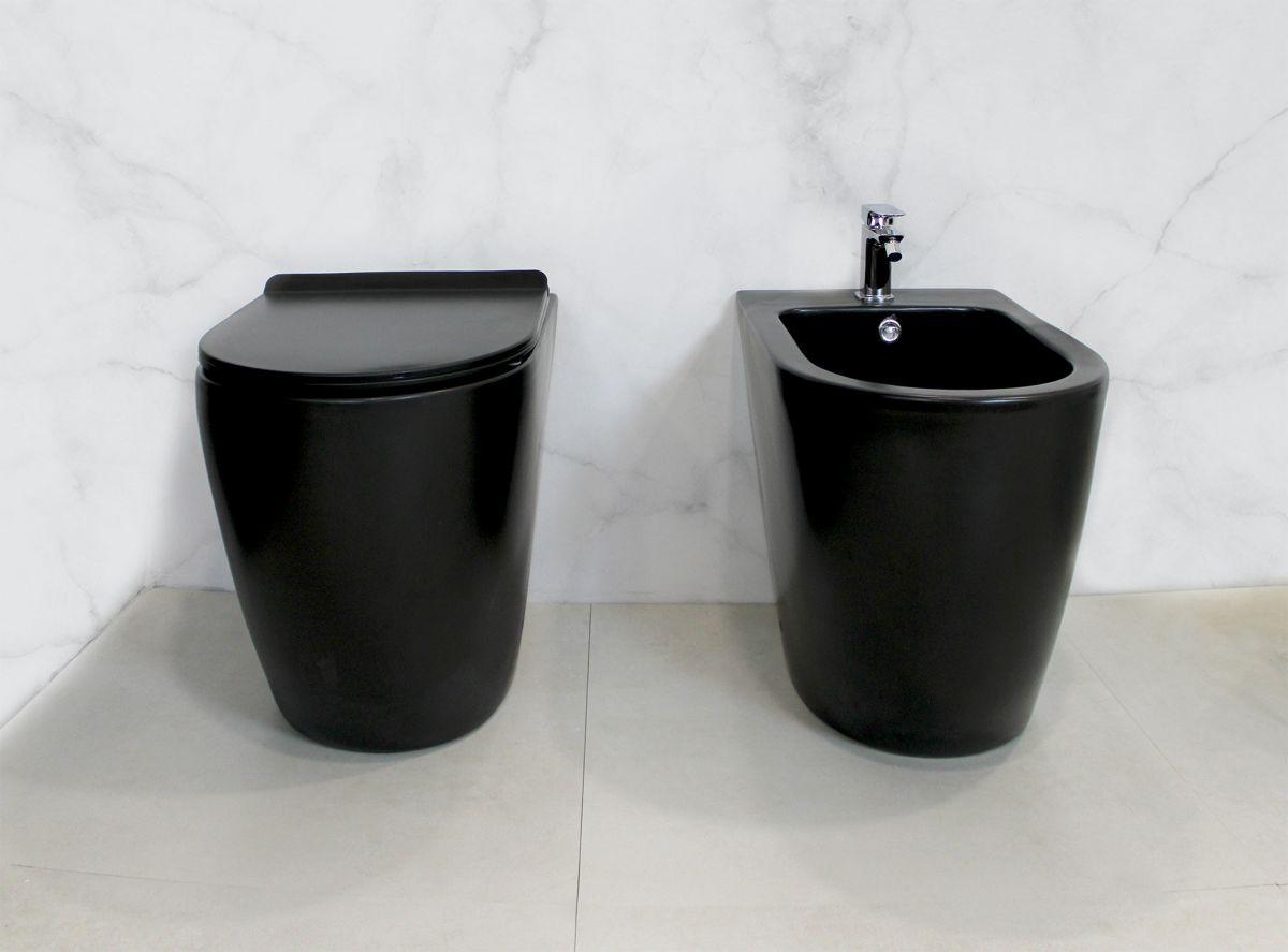 Round Terra Black 2 Sanitari filo muro Round in ceramica col nero opaco Vaso+Bidet+Coprivaso Soft Close