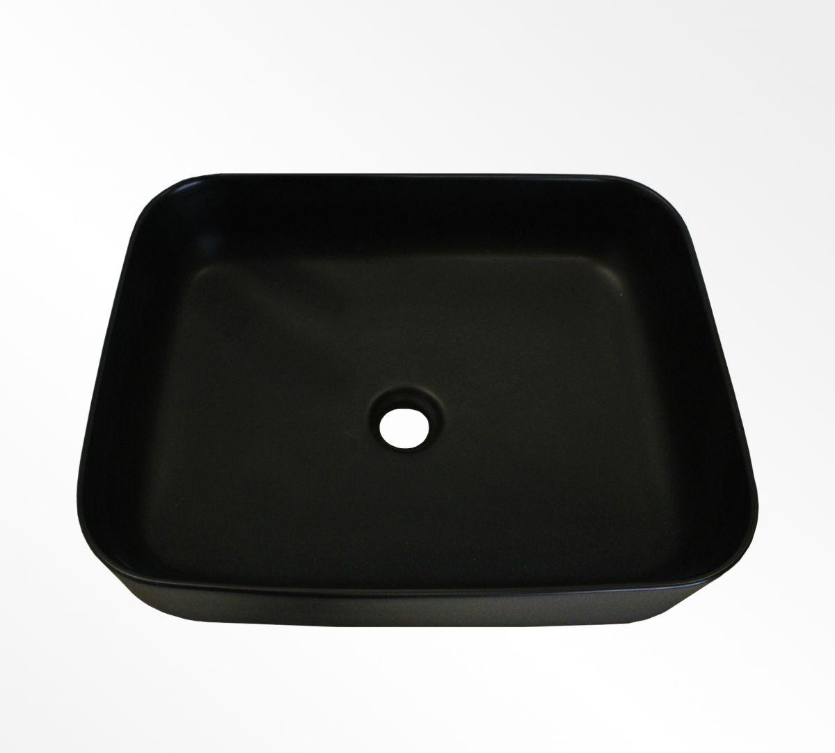 lavabo nero 3 Lavabo bacinella cod K-802-MB da appoggio in ceramica di forma rettangolare nero opaco