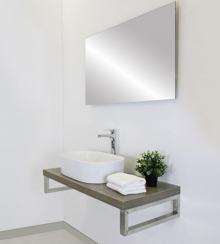 mensolone con specchio Mensolone finitura rovere da 100 cm con specchio filo lucido