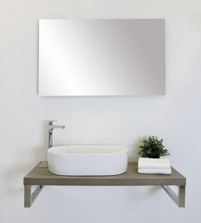 mensolone con specchio 2 Mensolone finitura rovere da 100 cm con specchio filo lucido