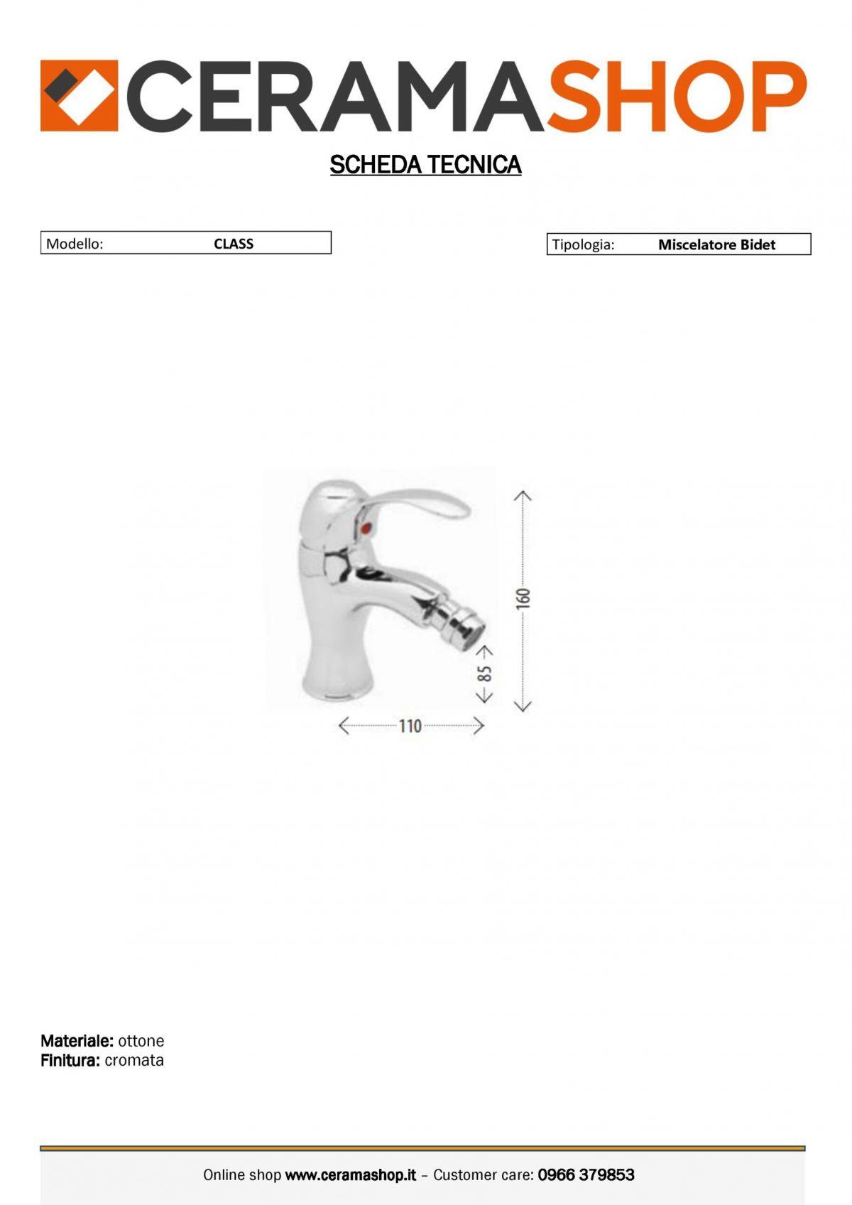 "CLASS BIDET 0001 scaled Miscelatore bidet mod ""Class"" con piletta scarico"