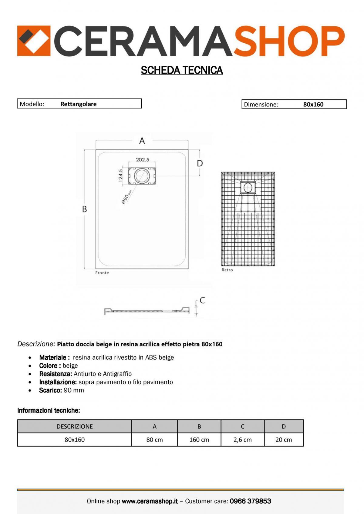 80x160be 0001 scaled Piatto doccia rettangolare