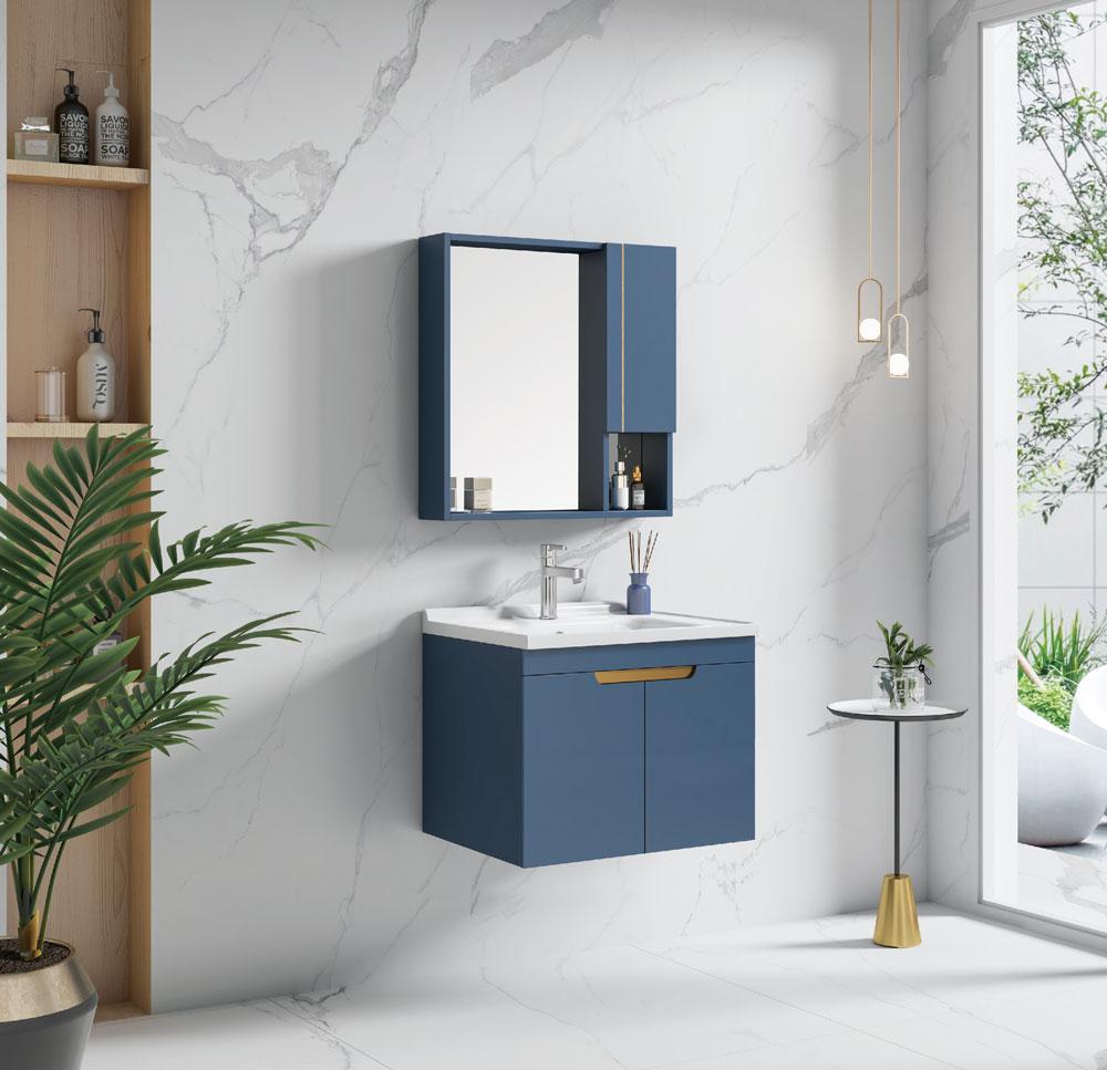 202012301437461 Mobile bagno Amman sospeso da 80 cm blu indaco con lavabo specchio e pensile