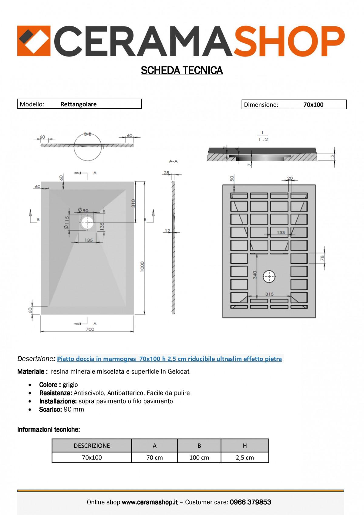 """70x100 grigio f 0001 1 scaled Piatto doccia rettangolare """"Dolomia"""" in marmogres grigio 70×100 h 2,5 cm riducibile ultraslim effetto pietra"""