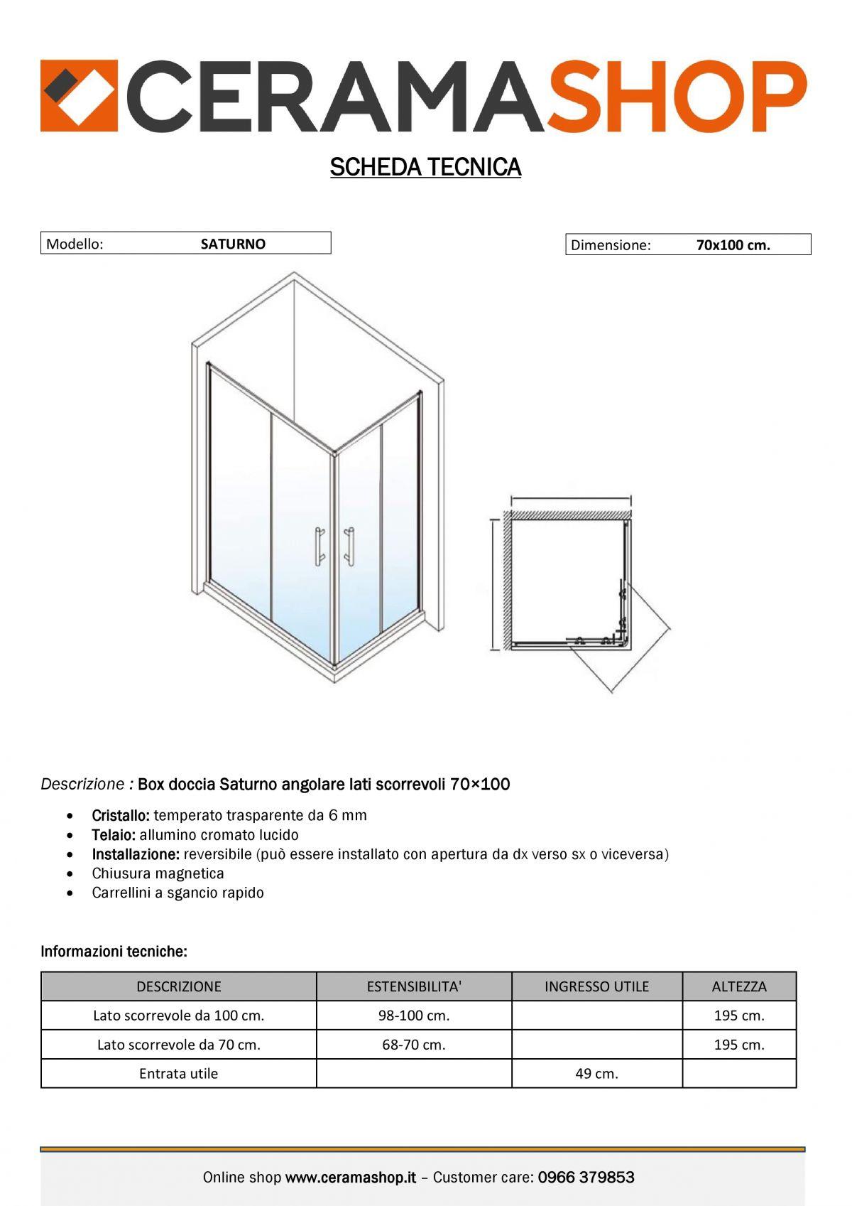 """70x100 000001 1 scaled Box doccia rettangolare """"Saturno"""" 70×100 cm scorrevole cristallo trasparente 6 mm"""